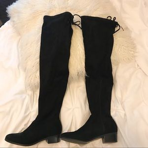 High knee faux suede boots